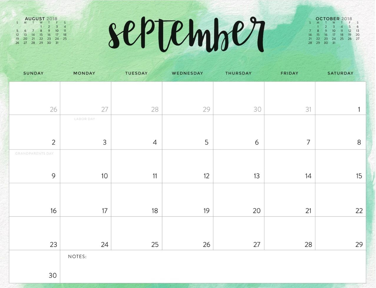 September 2018 Calendar Printable Waterproof | Printable Calendar with regard to Blank Printable September Calendar