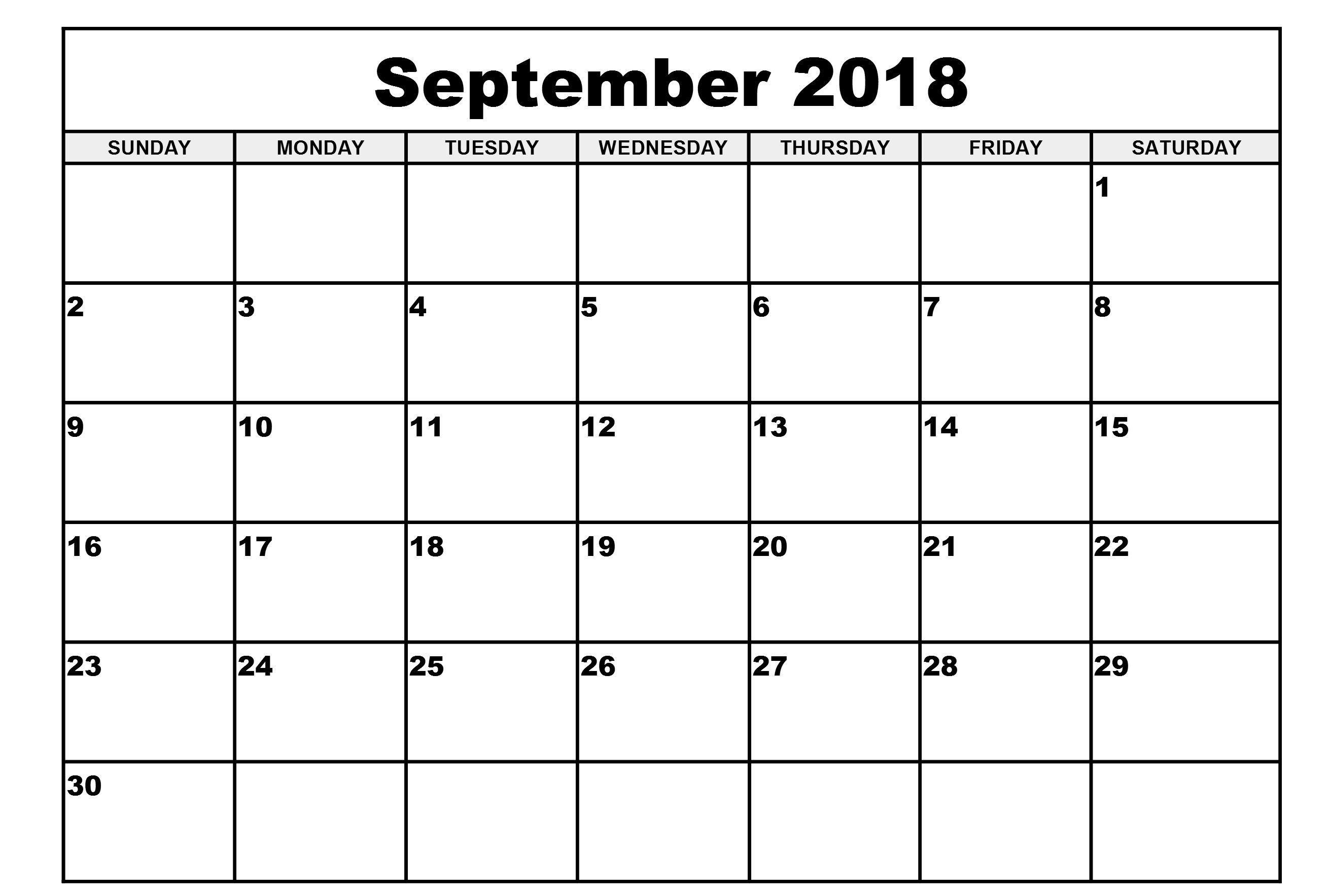 September 2018 Calendar Template | Printable Templates | 2018 with regard to Blank September Calendar Printable
