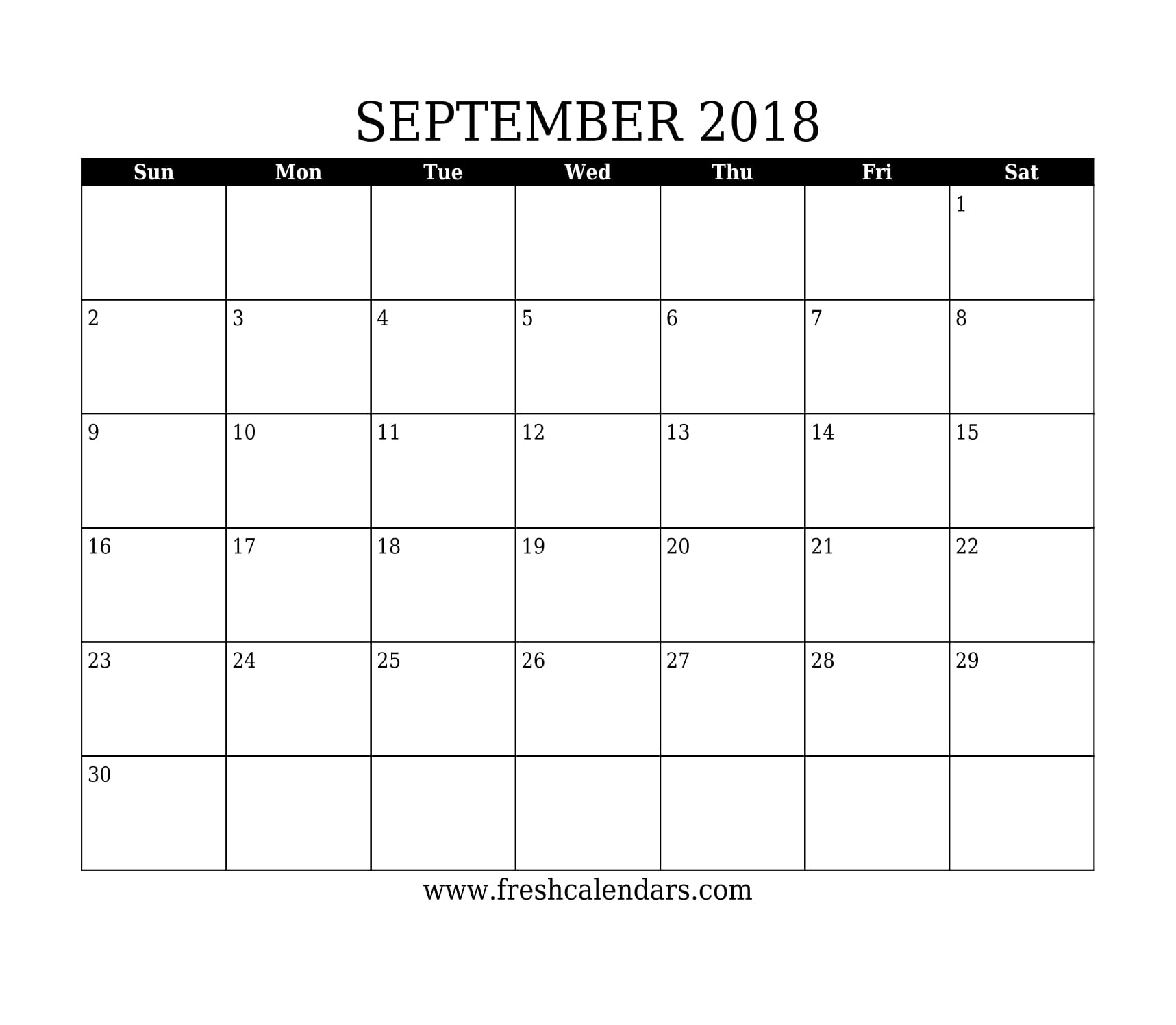 September 2018 Calendar throughout Blank September Calendar Printable