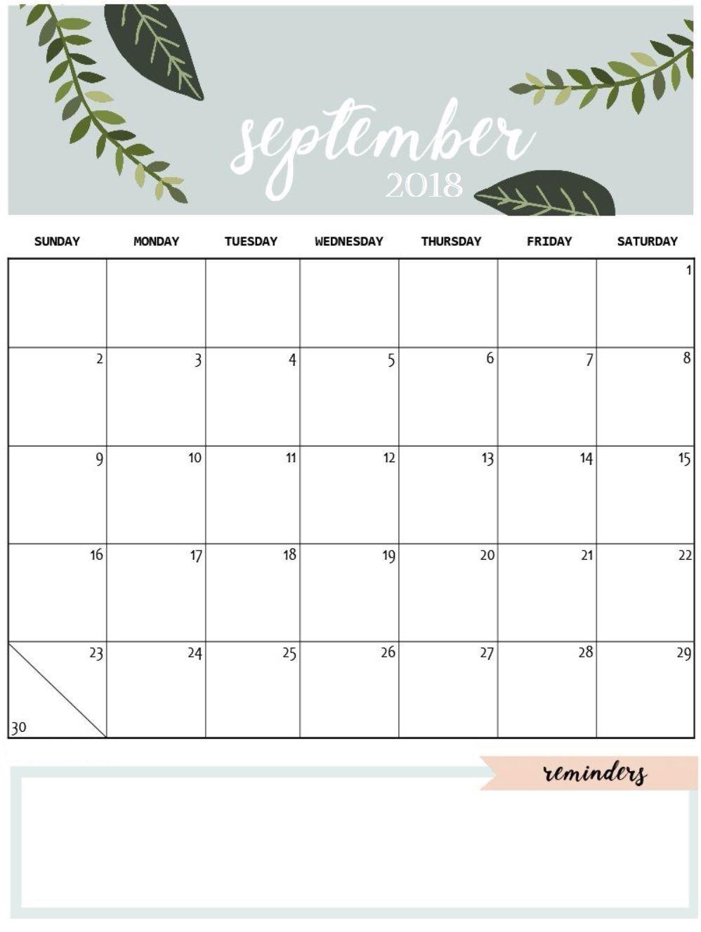 September 2018 Calendar Vertical | Calendar September 2018 in Cute Printable August Calendar Template