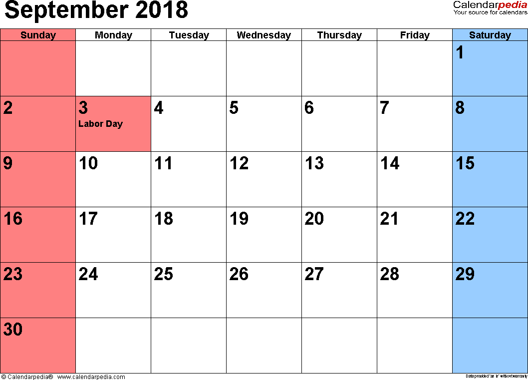 September 2018 Calendars For Word, Excel & Pdf inside Blank September Calendar Printable With Holidays