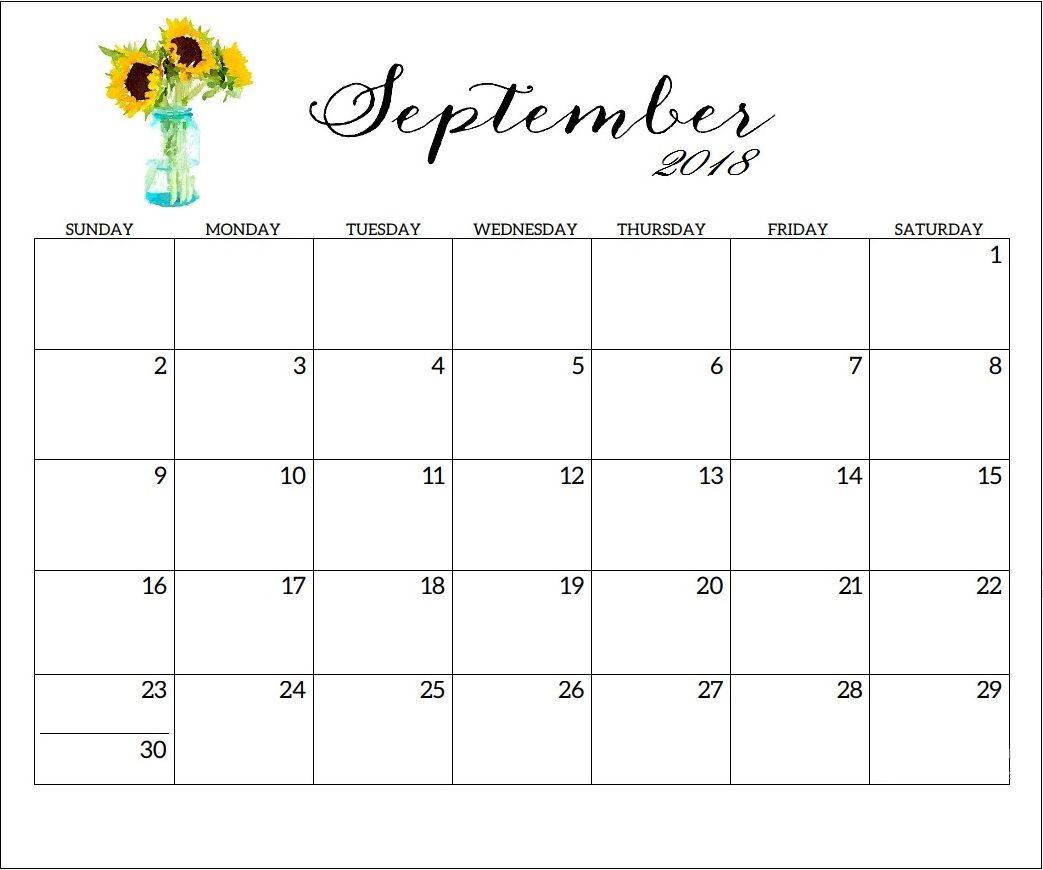 September 2018 Printable Calendar Word Template- September 2018 for Free Printable Calendars 2020 Waterproof