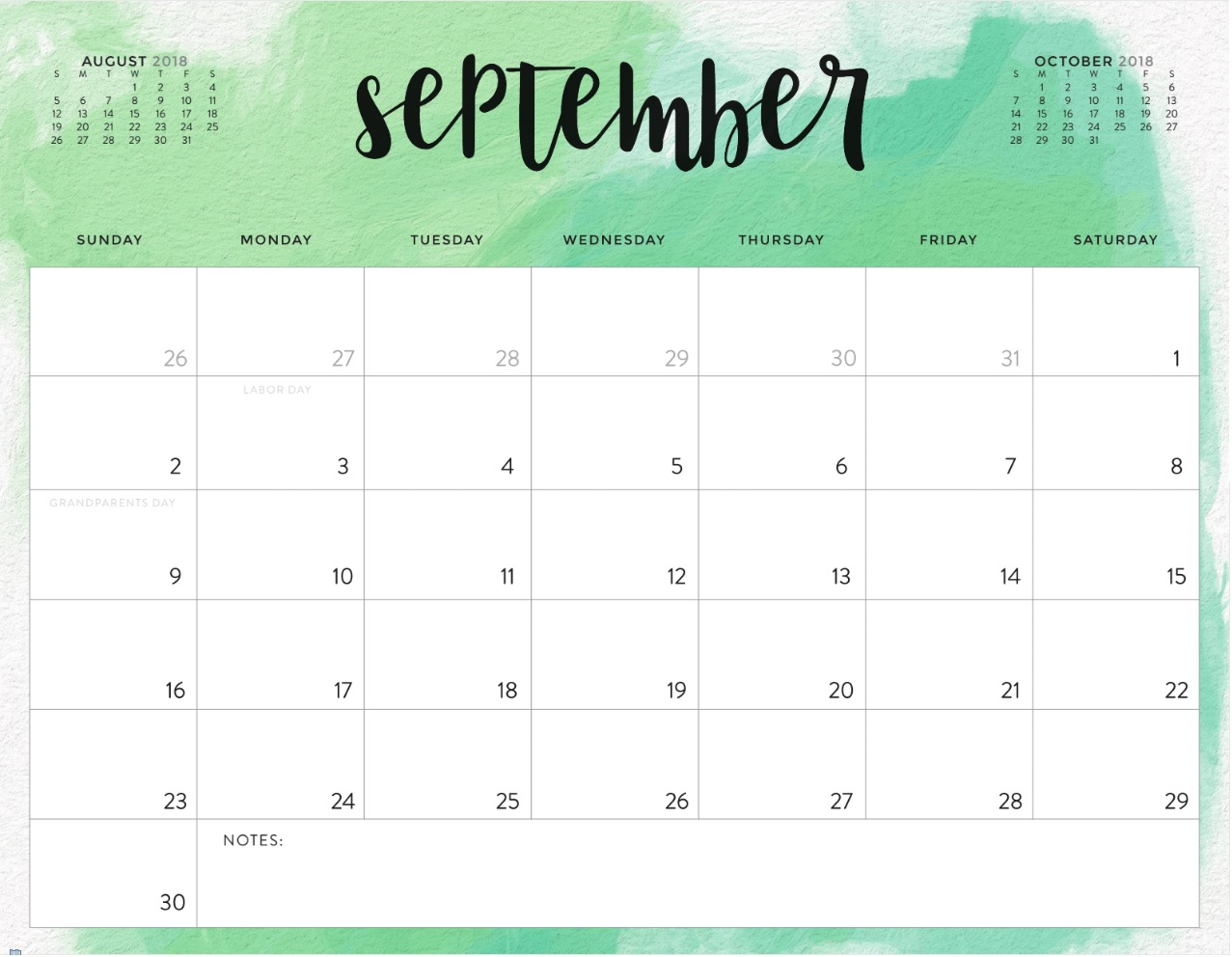 September 2018 Printable Calendar Word Template- September 2018 inside Free Printable Calendars 2020 Waterproof
