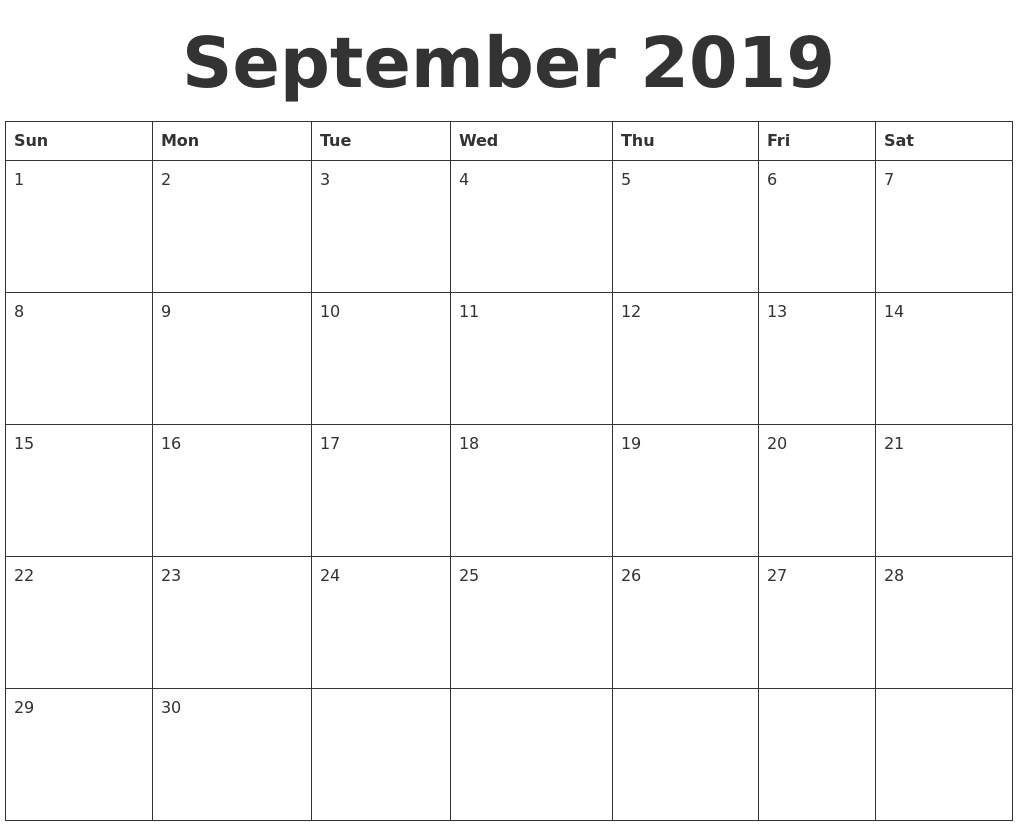 September 2019 Blank Calendar Template inside Blank September Calendar Printable