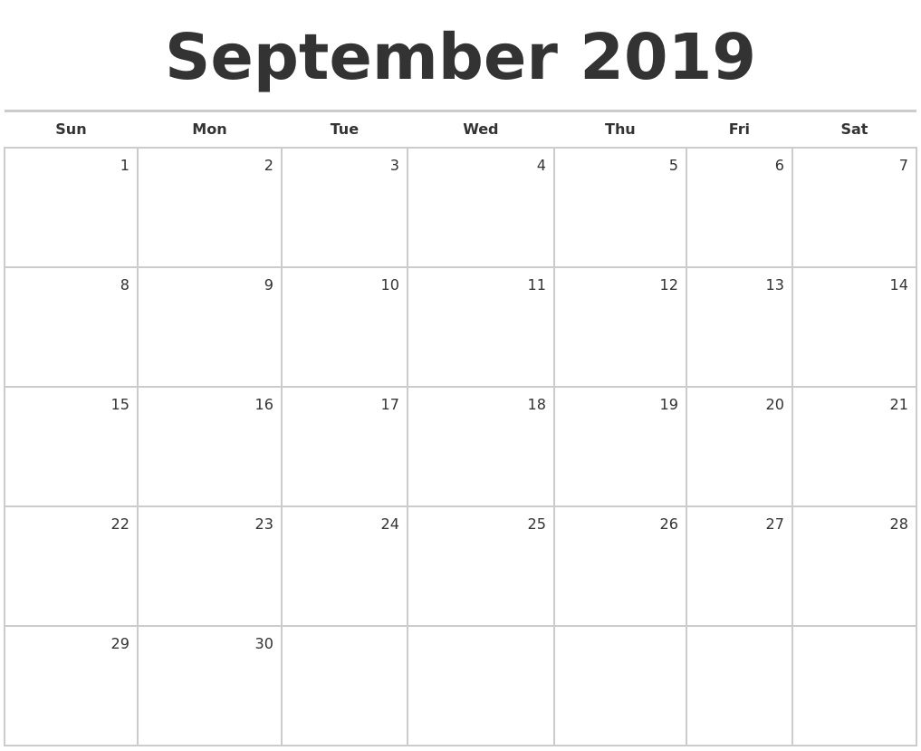 September 2019 Blank Monthly Calendar regarding 12 Month Blank Calendar