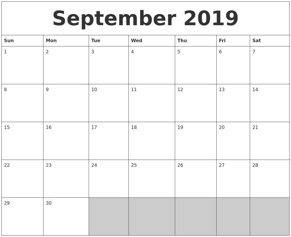 September 2019 Blank Printable Calendar intended for Blank Printable September Calendar