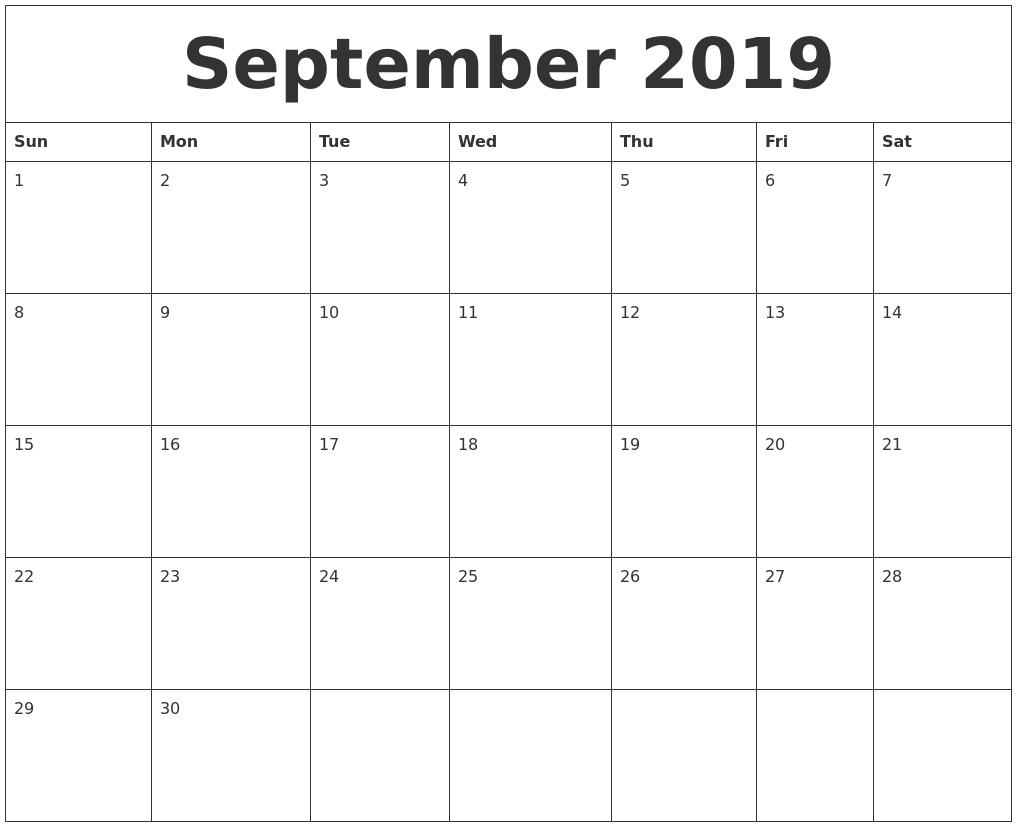 September 2019 Calendar for Blank Calendars Printable September