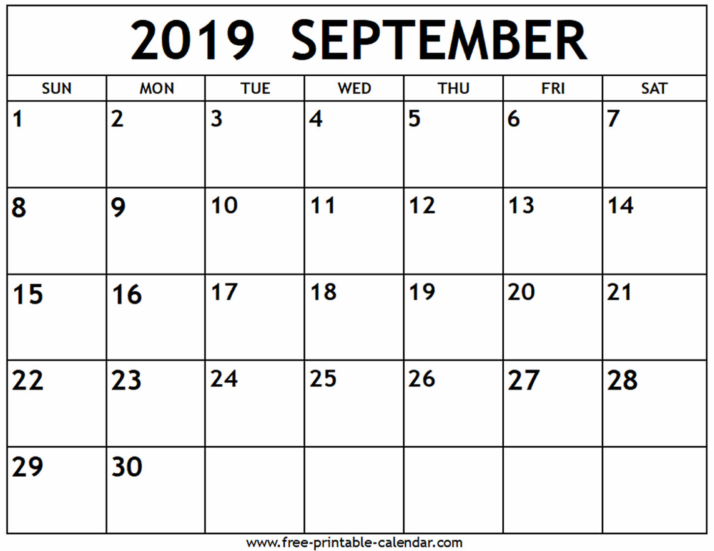 September 2019 Calendar - Free-Printable-Calendar pertaining to Blank Calendar Print-Outs Fill In Sept