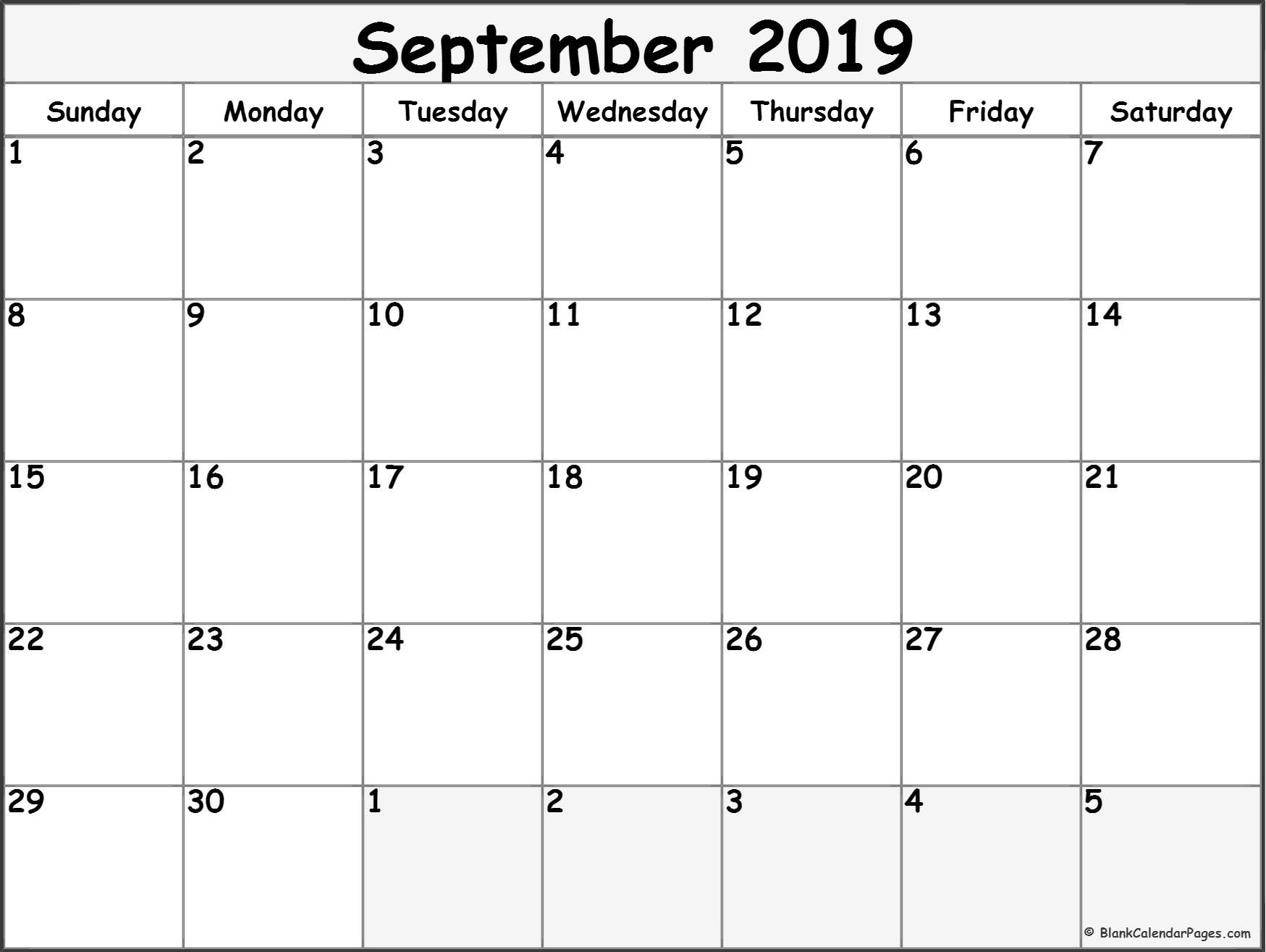 September 2019 Calendar | Free Printable Monthly Calendars for Blank Monthly Calendar September