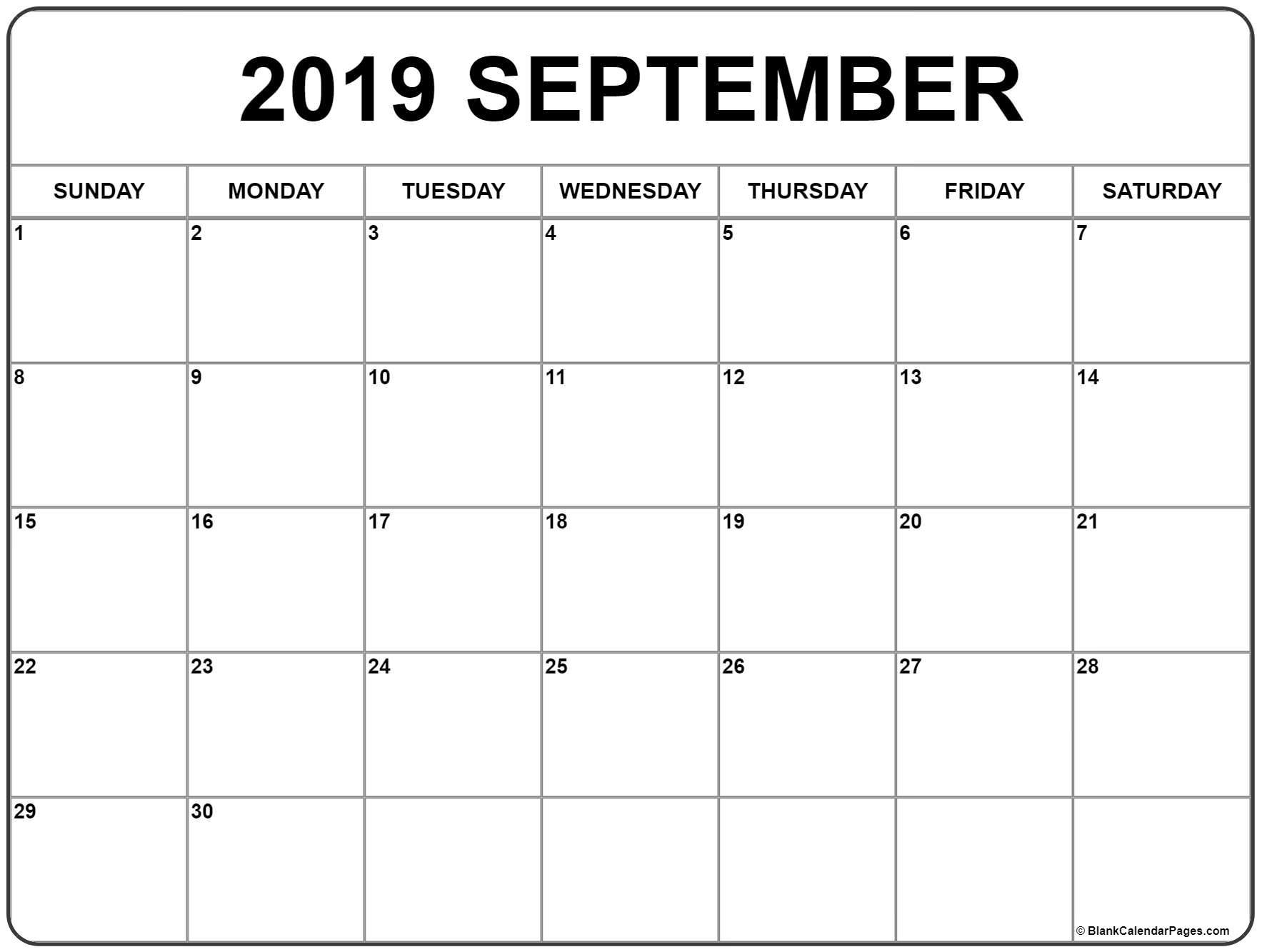 September 2019 Calendar | Free Printable Monthly Calendars for September Calendar Printable Template Blank