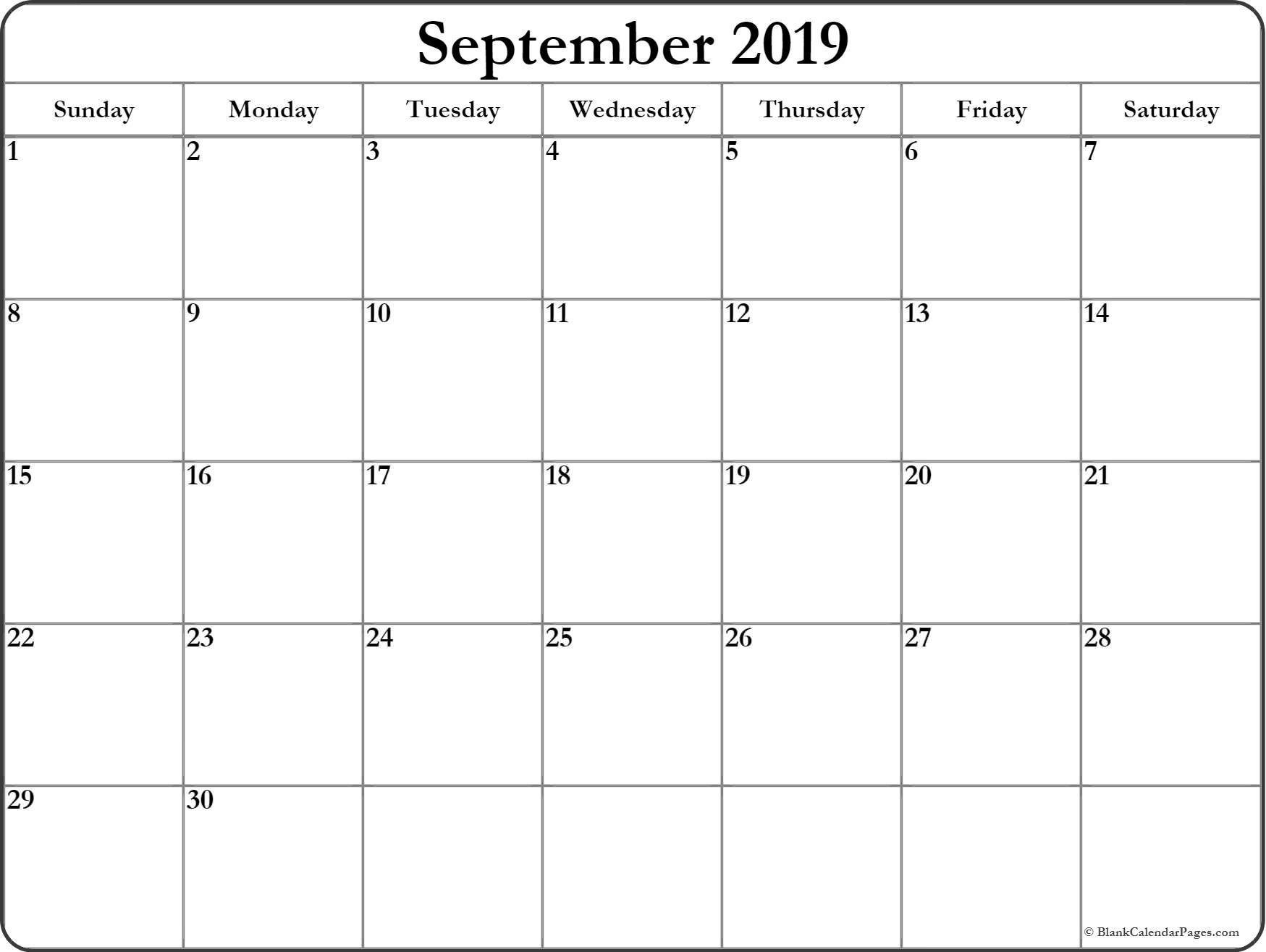 September 2019 Calendar | Free Printable Monthly Calendars throughout Printable Blank Calendar Pages For September