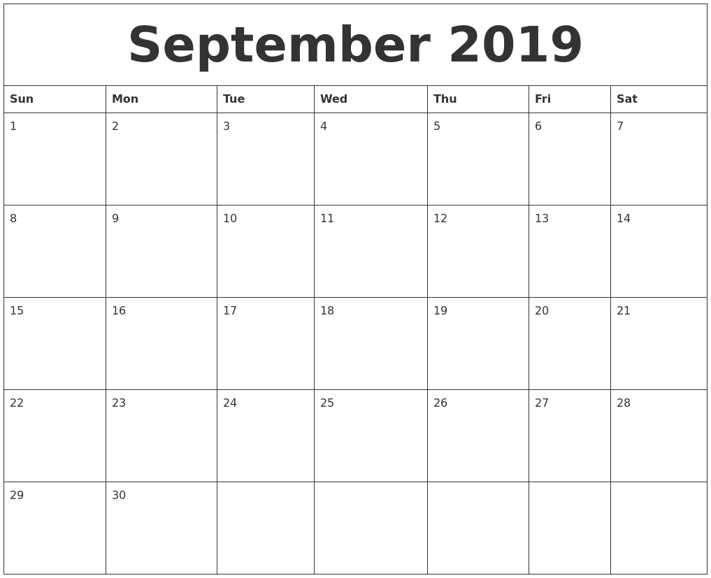 September 2019 Calendar intended for Calendars Sept And October 2019