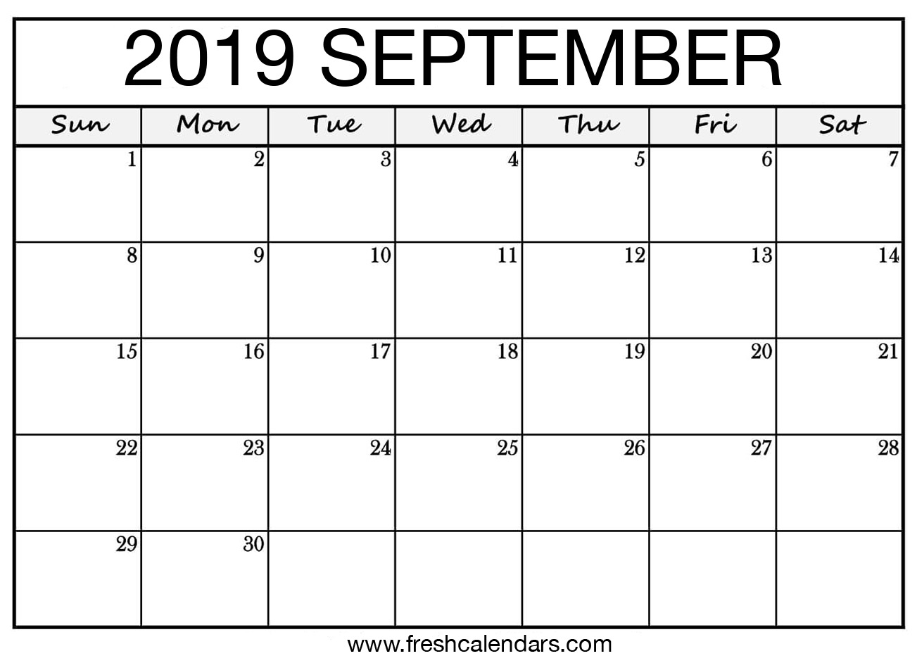 September 2019 Calendar Printable - Fresh Calendars inside Blank September Calendar Printable
