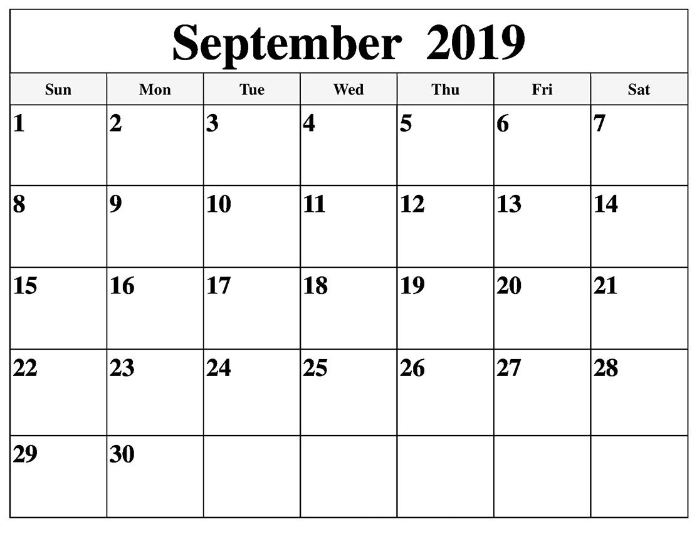 September 2019 Calendar With Holidays Public, National - Latest regarding Blank September Calendar Printable With Holidays