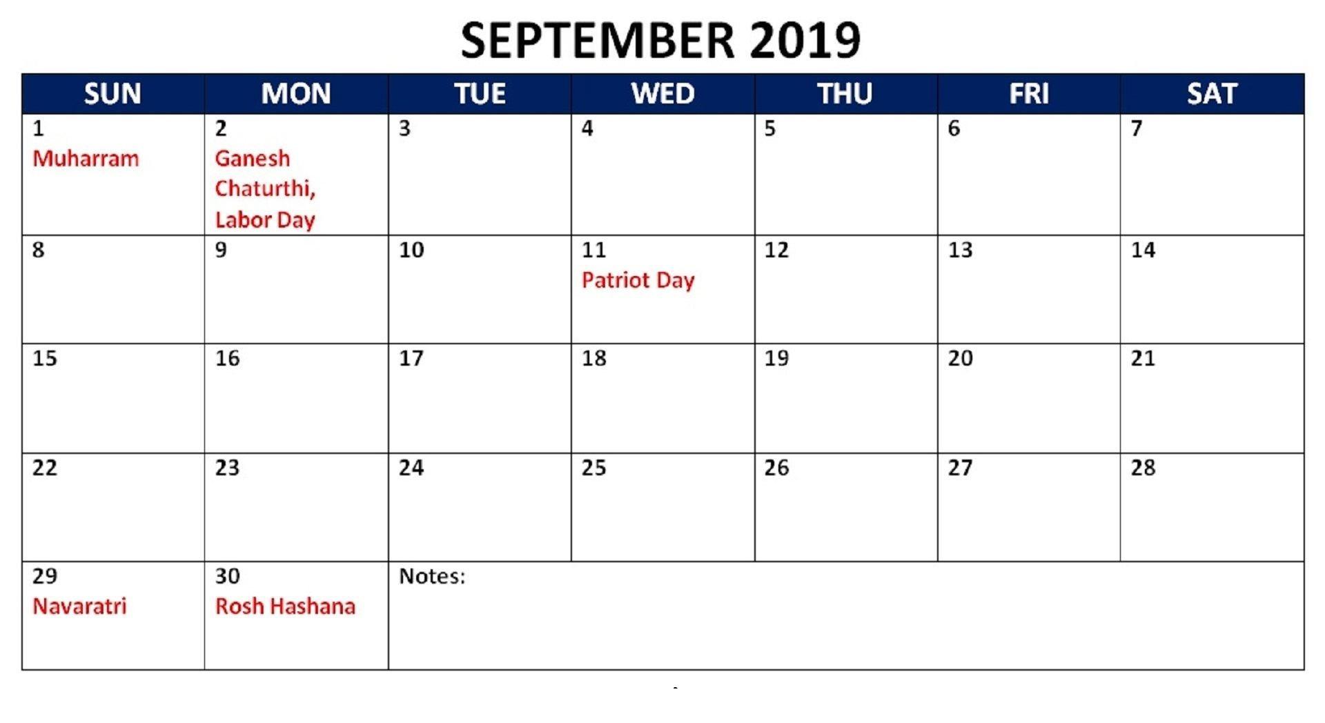 September 2019 Calendar With Holidays Public, National - Latest throughout Calendar October 2019 Pocket Calendar