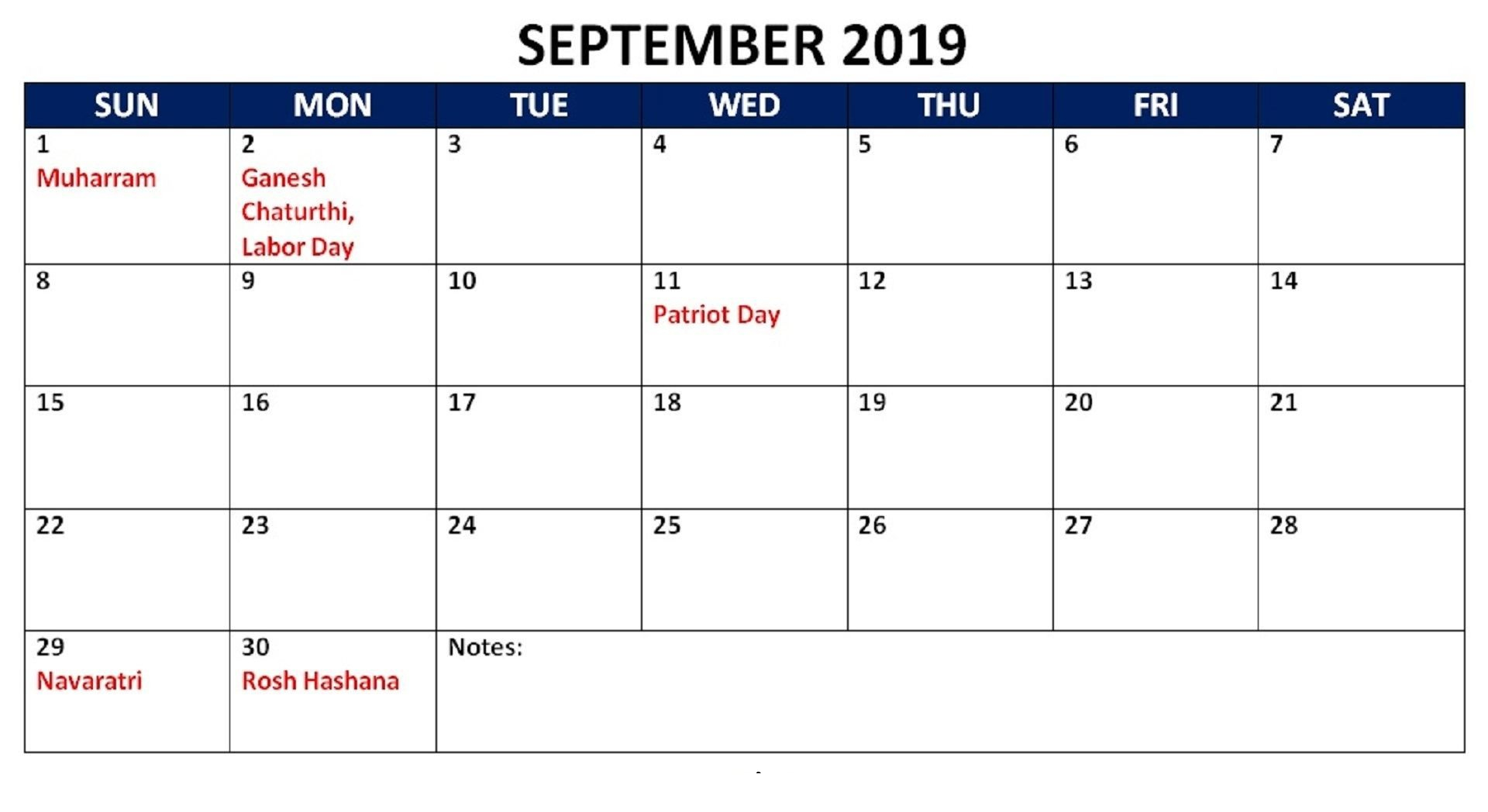 September 2019 Calendar With Holidays Public, National - Latest with regard to Blank September Calendar Printable With Holidays