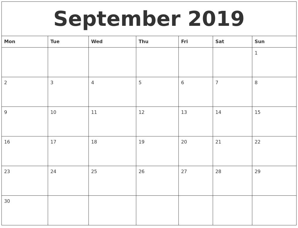 September 2019 Free Blank Calendar Template inside Printable Blank Calendar Pages For September