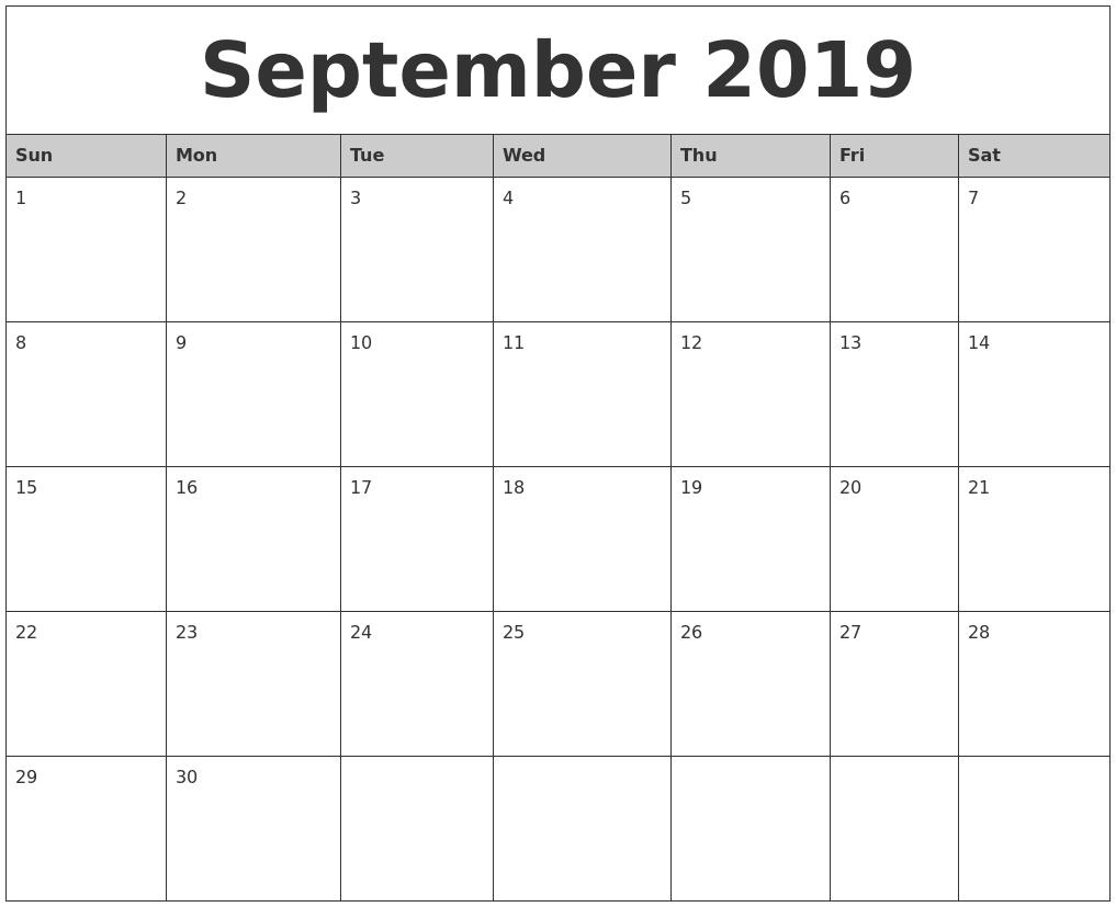 September 2019 Monthly Calendar Printable intended for Monday Sunday Calendar Template September