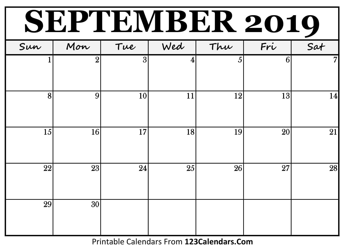 September 2019 Printable Calendar | 123Calendars intended for Blank Printable September Calendar