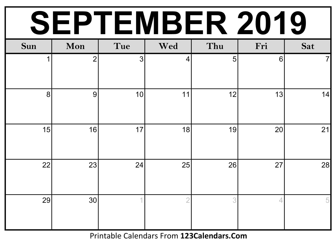 September 2019 Printable Calendar | 123Calendars with Printable Calendar 2019 2020 Write On