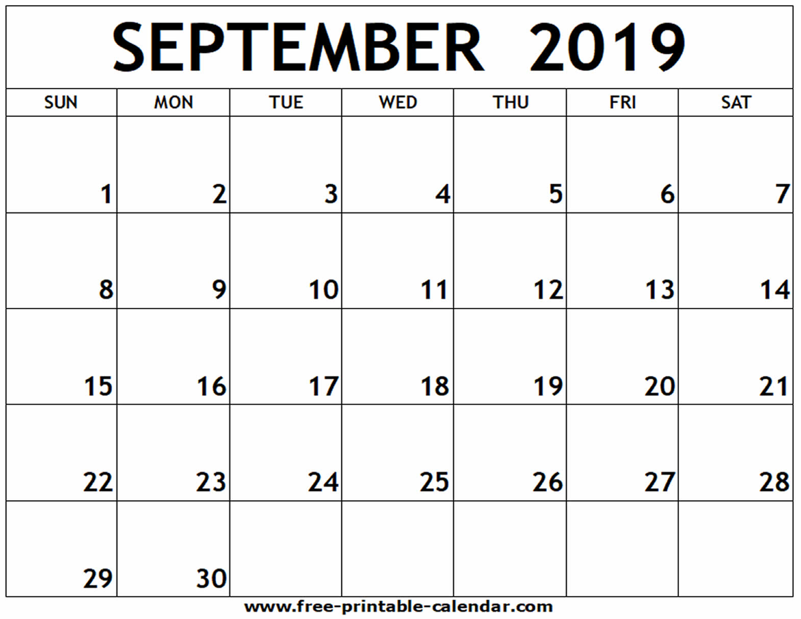 September 2019 Printable Calendar - Free-Printable-Calendar with Blank Calendars September Printable