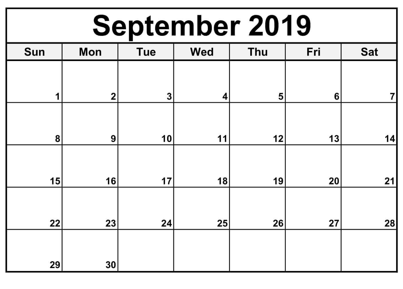 September 2019 Printable Calendar Monthly - Free Printable Calendar within Printable Blank Calendar Pages For September