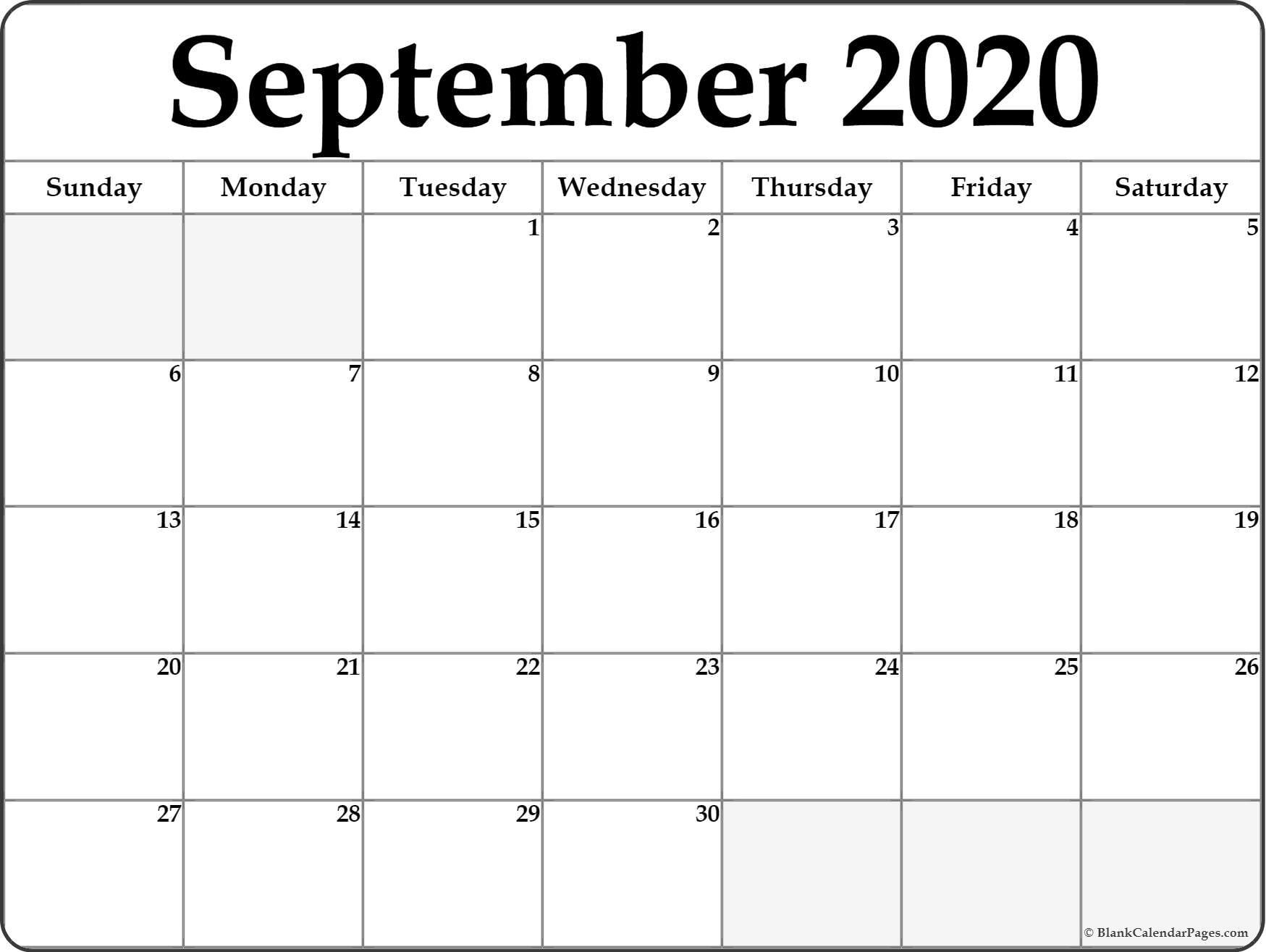 September 2020 Calendar | Free Printable Monthly Calendars inside Printable Blank Calendar Pages For September