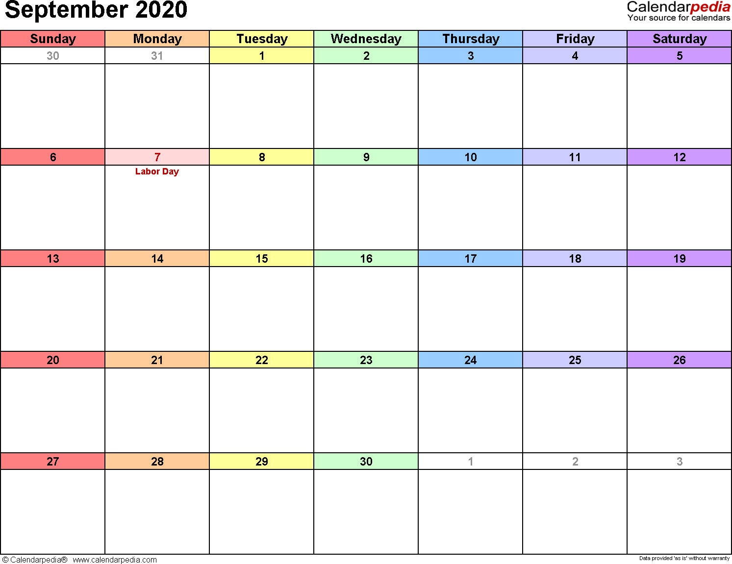 September 2020 Calendars For Word, Excel & Pdf within Blank Calendar Print-Outs Fill In Sept
