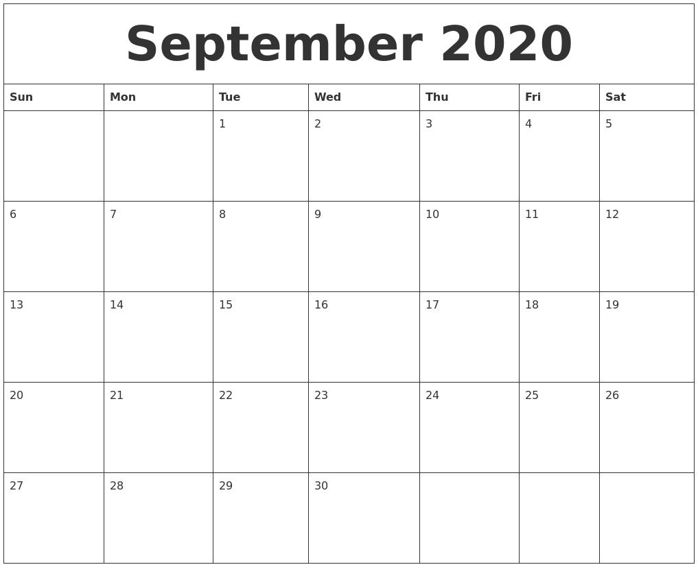 September 2020 Free Printable Blank Calendar intended for Blank 2020 Calendar Starting On Saturday Printable Free