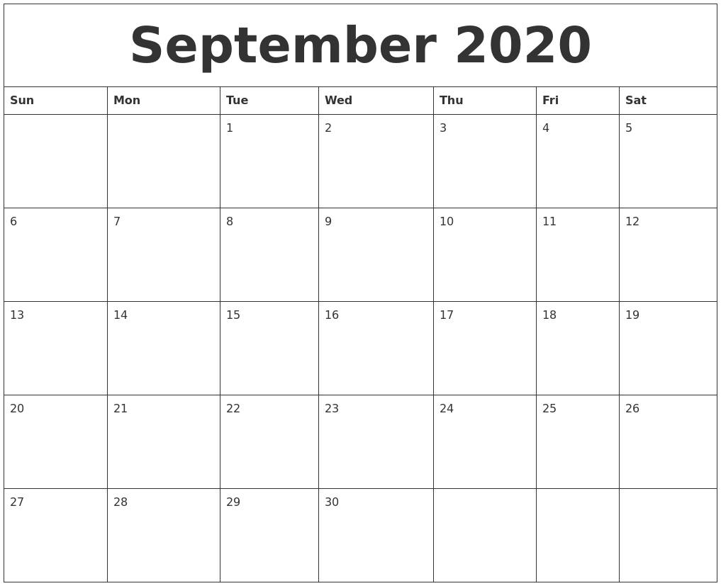 September 2020 Monthly Printable Calendar in Blank Calendar Print-Outs Fill In Sept