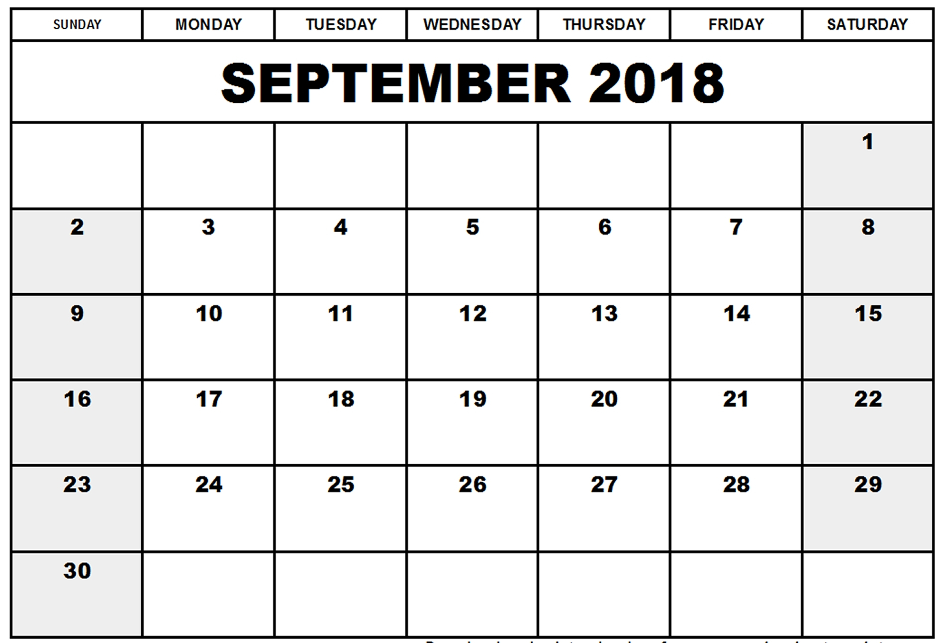 September Calendar 2018 Blank intended for Printable Blank Calendar Pages For September