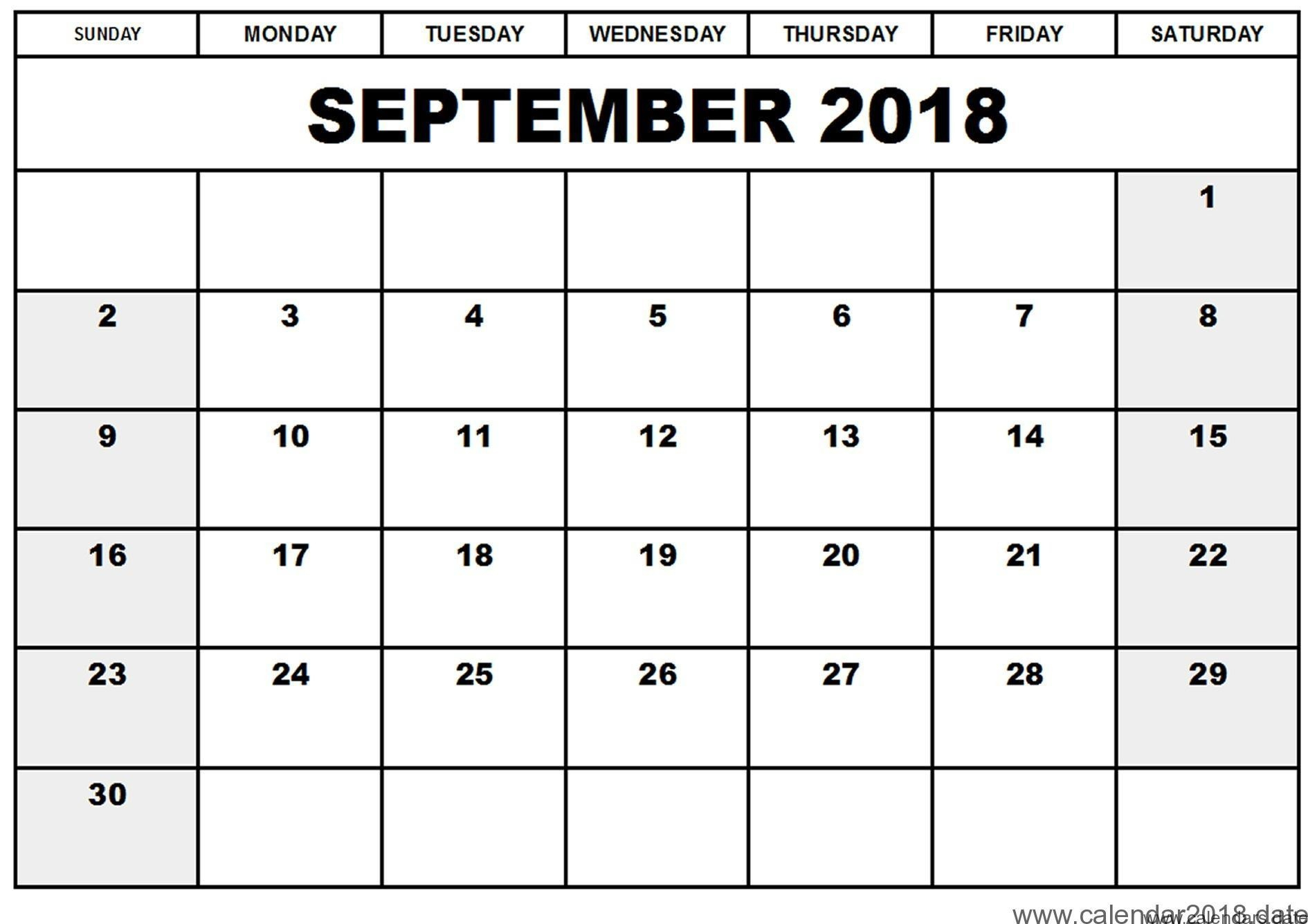 September Calendar 2018 Printable throughout Blank Printable September Calendar Template