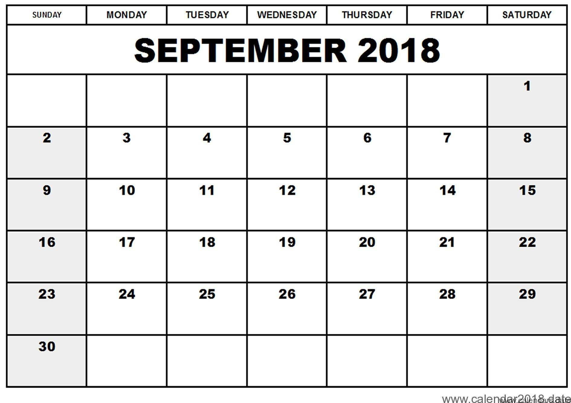 September Calendar 2018 Printable with regard to September Calendar Printable Template