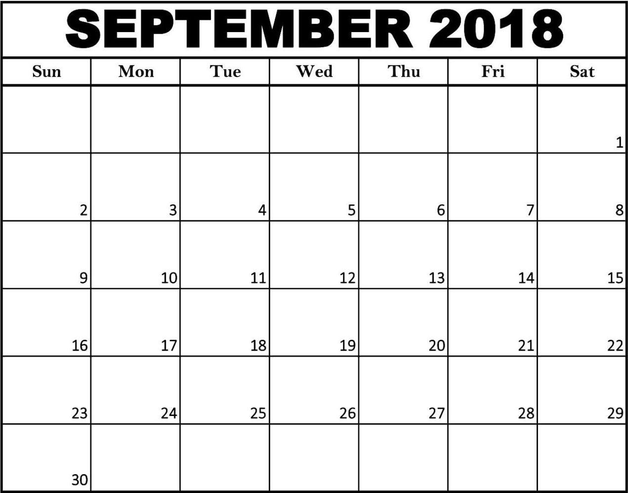 September Calendar 2018 Template throughout September Printable Monthly Calendars Blank
