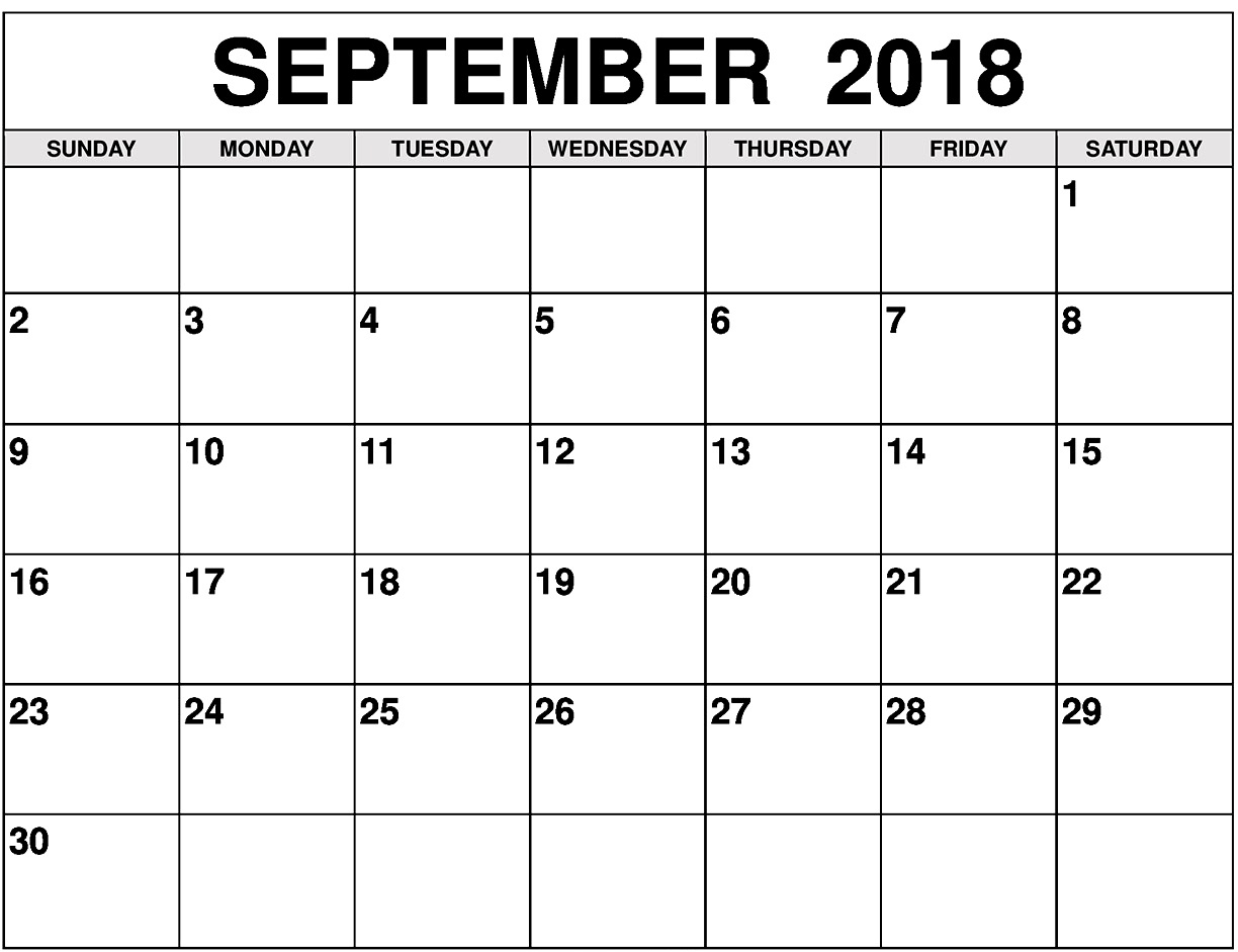September Month Calendar 2018 Start With Monday in Monday Sunday Calendar Template September