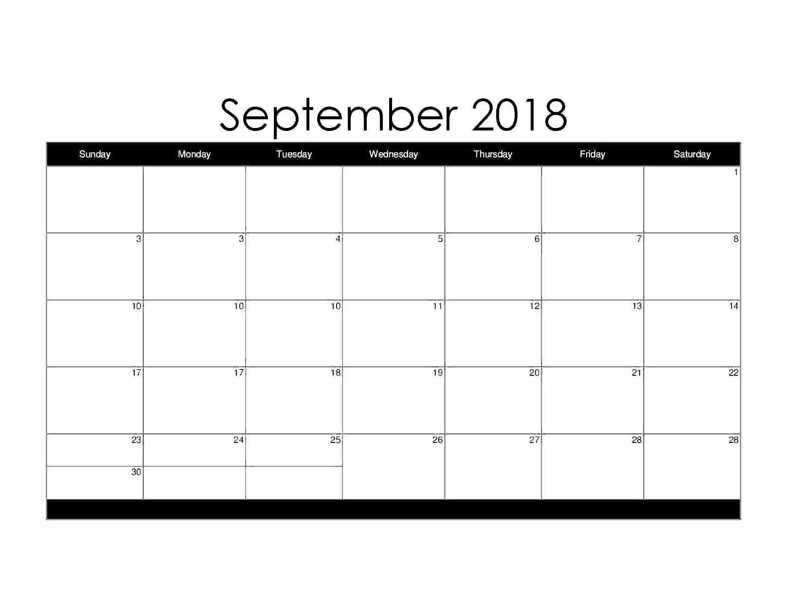 September Month Calendar 2018 Start With Monday regarding Blank Monthly Calendar September