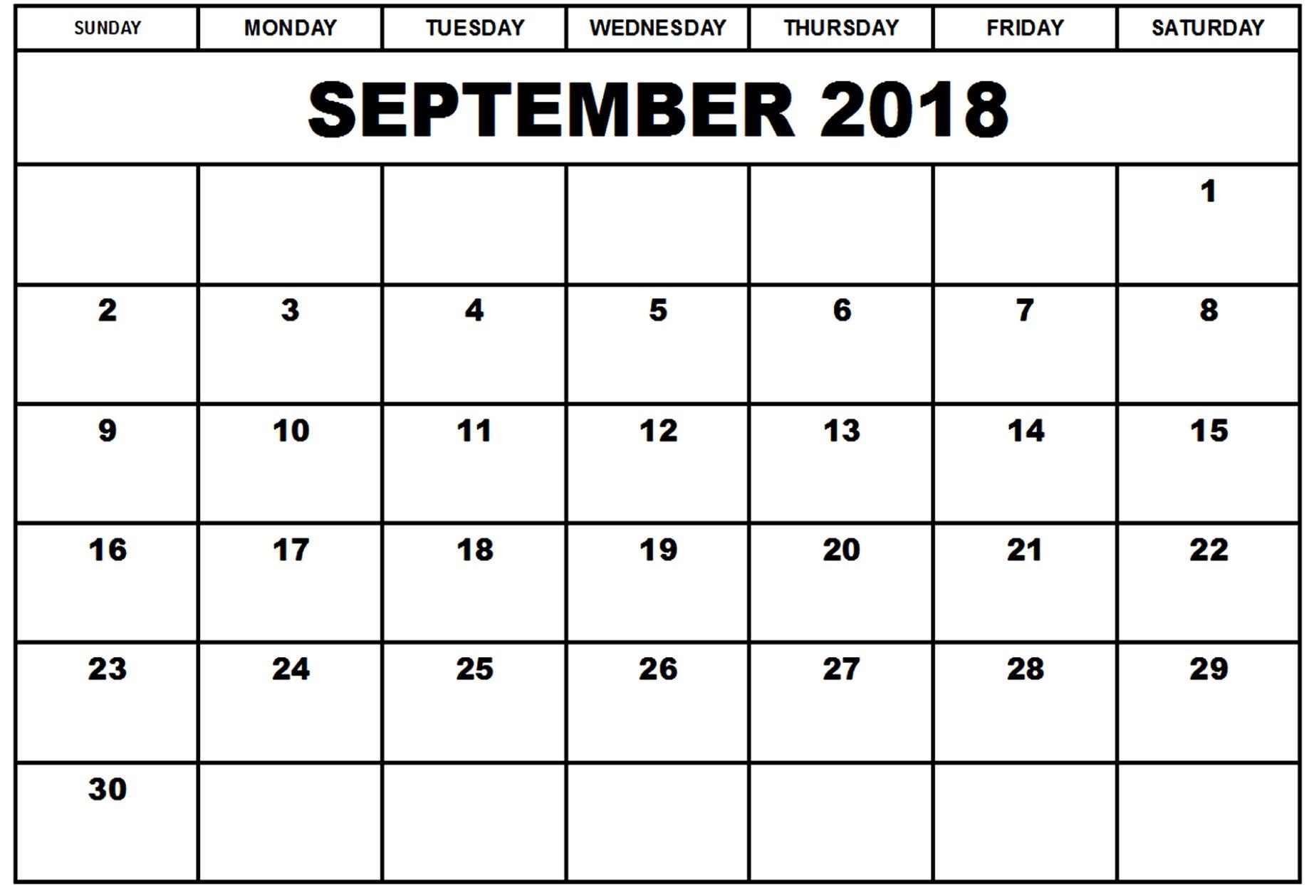 September October 2018 Calendar Printable Template for September Calendar Printable Template