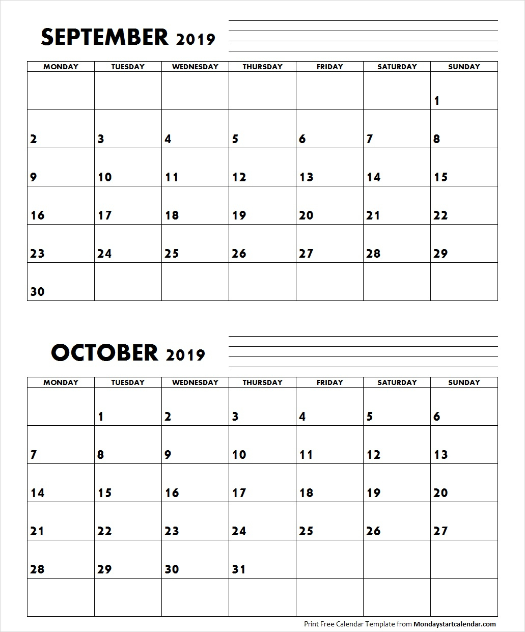 September October 2019 Calendar Monday Start | Two Months Template inside Calendars Sept And October 2019