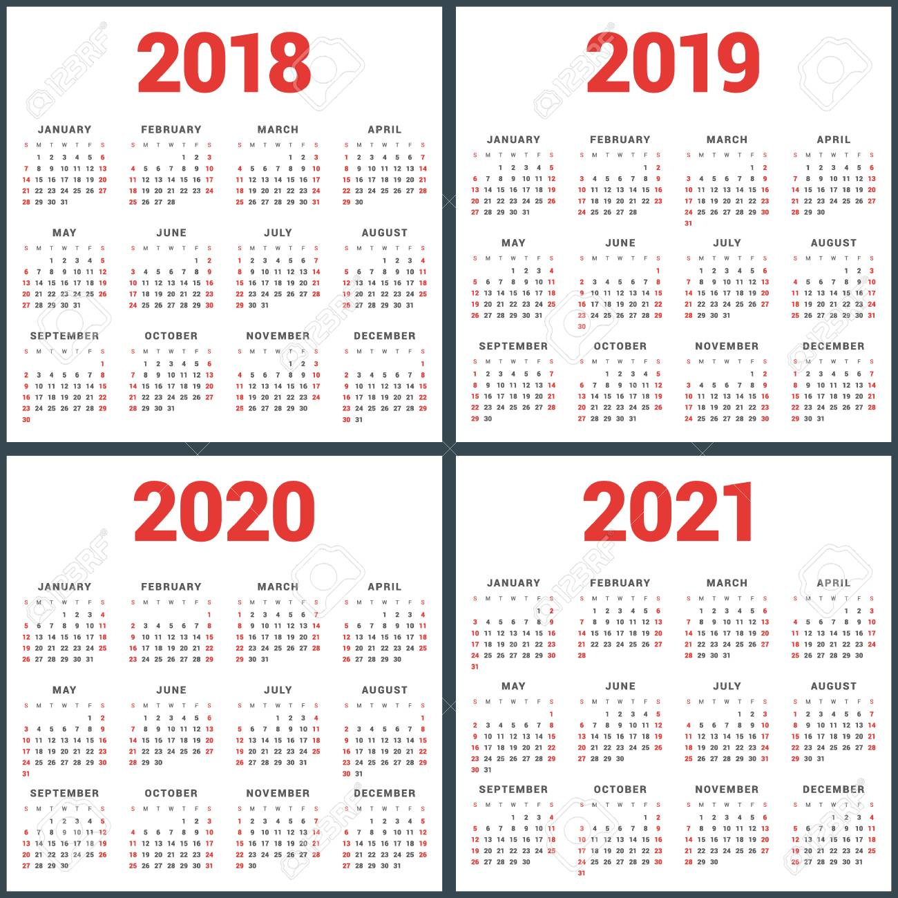 Set Of Calendars For 2018, 2019, 2020, 2021 Years. Week Starts.. throughout Printable Calendar 2019 2020 Monday To Sunday