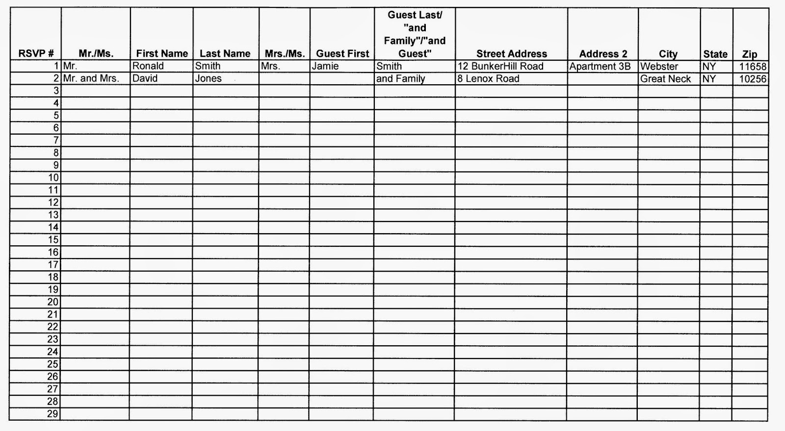 Shawn Rabideau Events And Design: Organizing Your Guest List in Event Guest List Template Excel