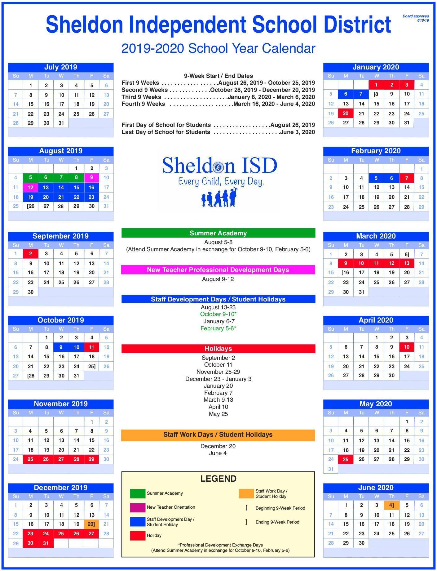 Sheldon Isd for U Of R 2020 Calendar