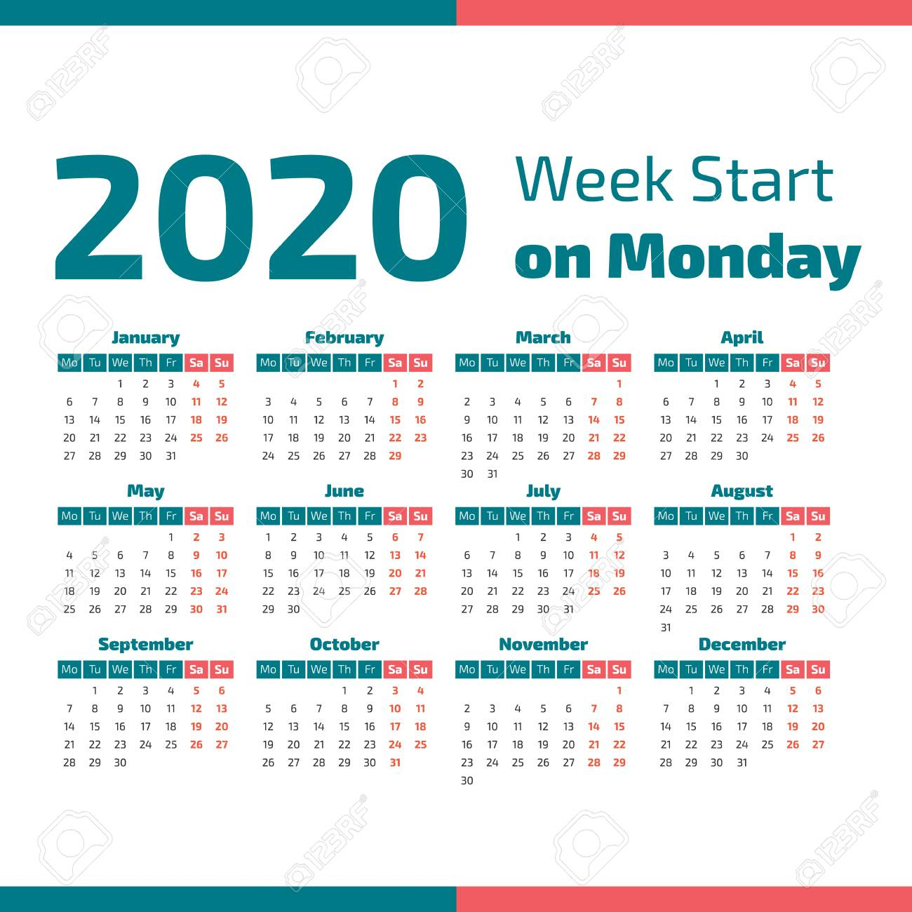 Simple 2020 Year Calendar, Week Starts On Monday Vector Illustration inside 2020 Calendar Starting With Monday