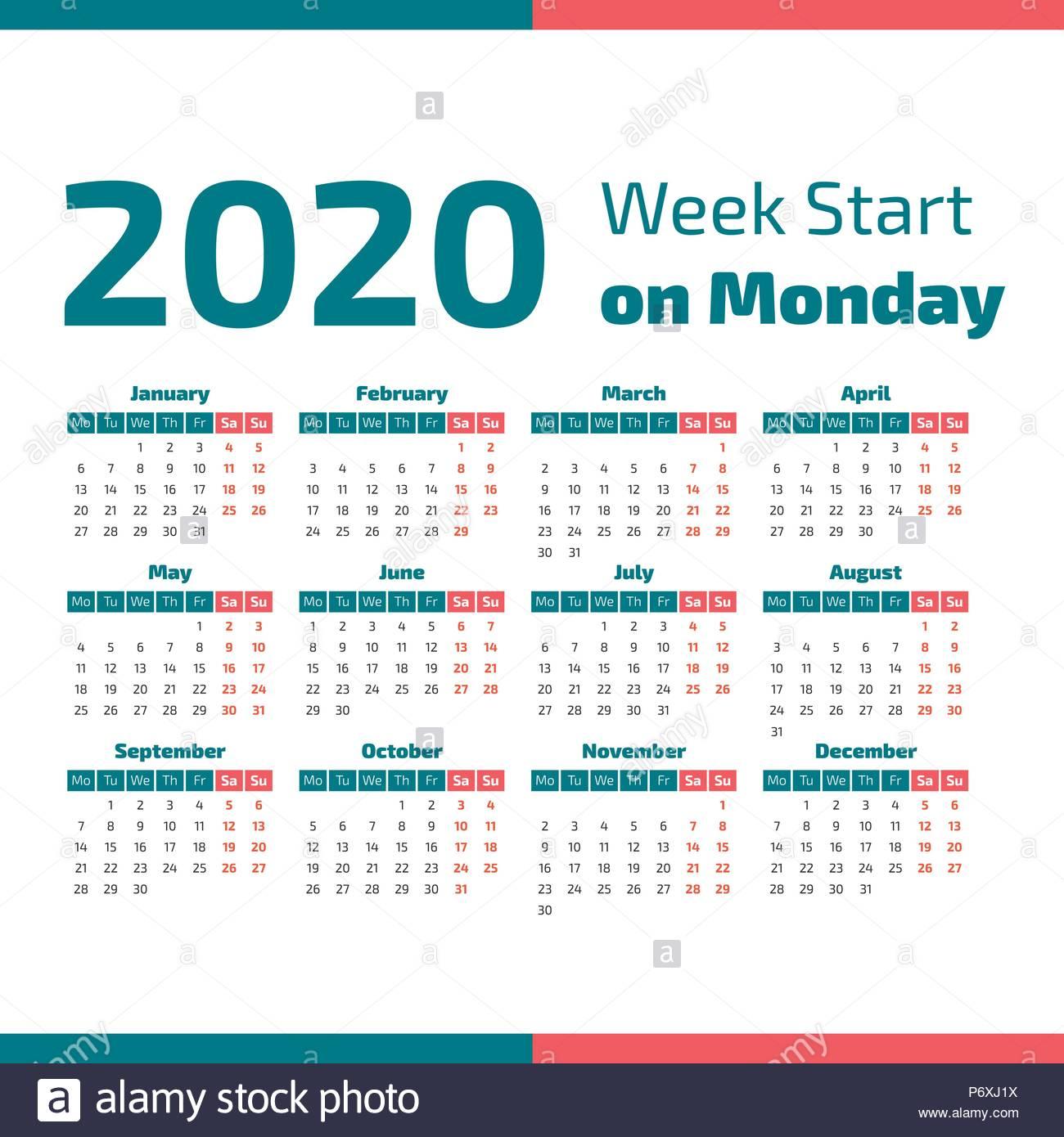Simple 2020 Year Calendar Week Stock Photos & Simple 2020 Year in 2020 Calendar Starting On Monday