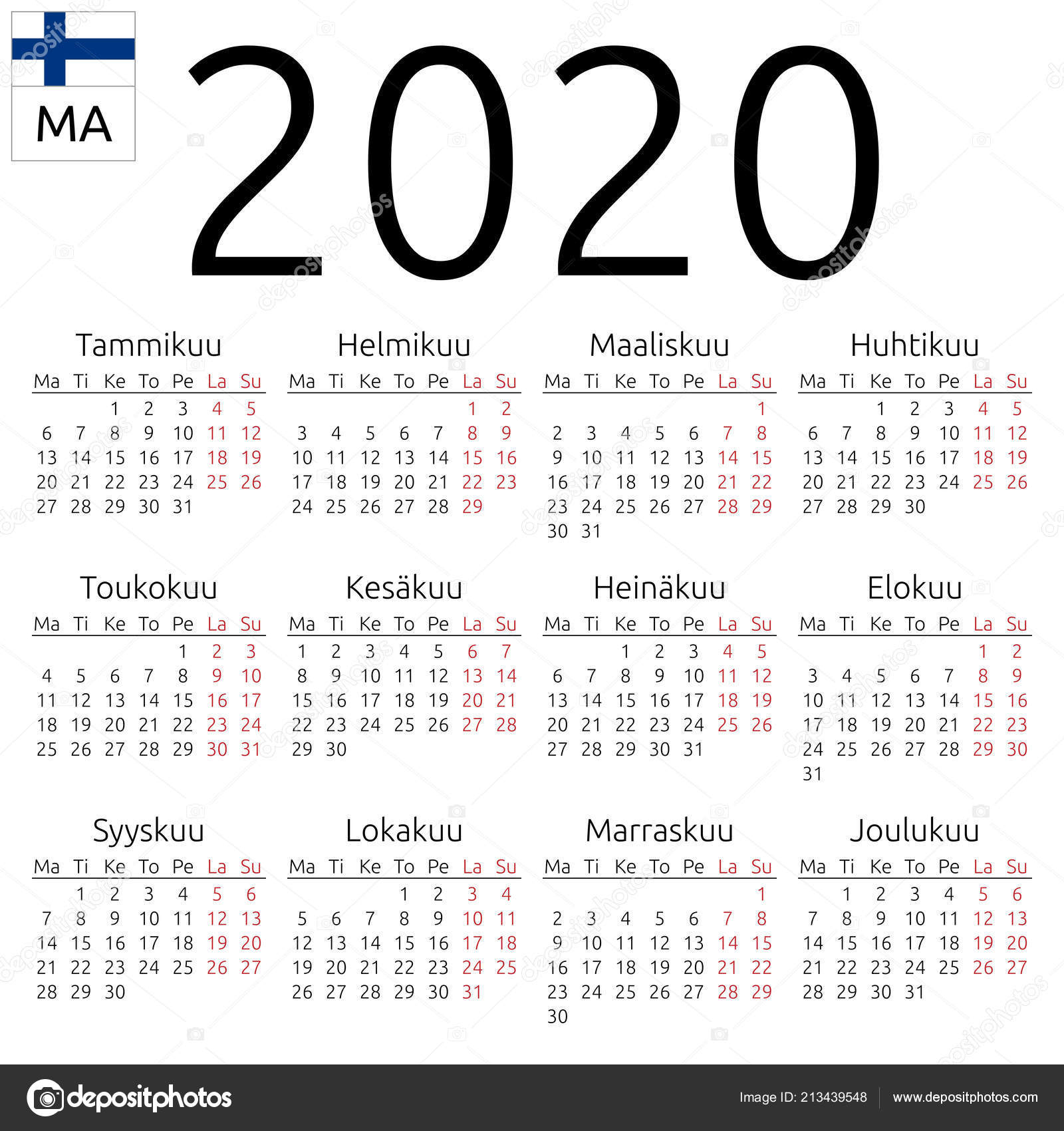 Simple Annual 2020 Year Wall Calendar Finnish Language Week Starts in 2020 Calendar Starting On Monday