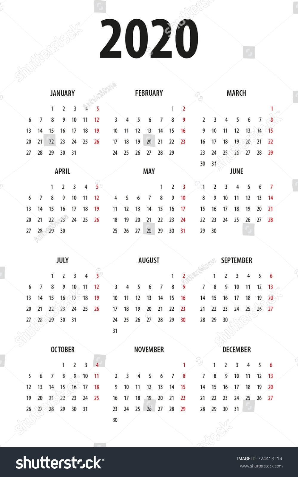 Simple Calendar Template 2020 On White Stock Vector (Royalty Free inside 2020 Calendar Starting With Monday