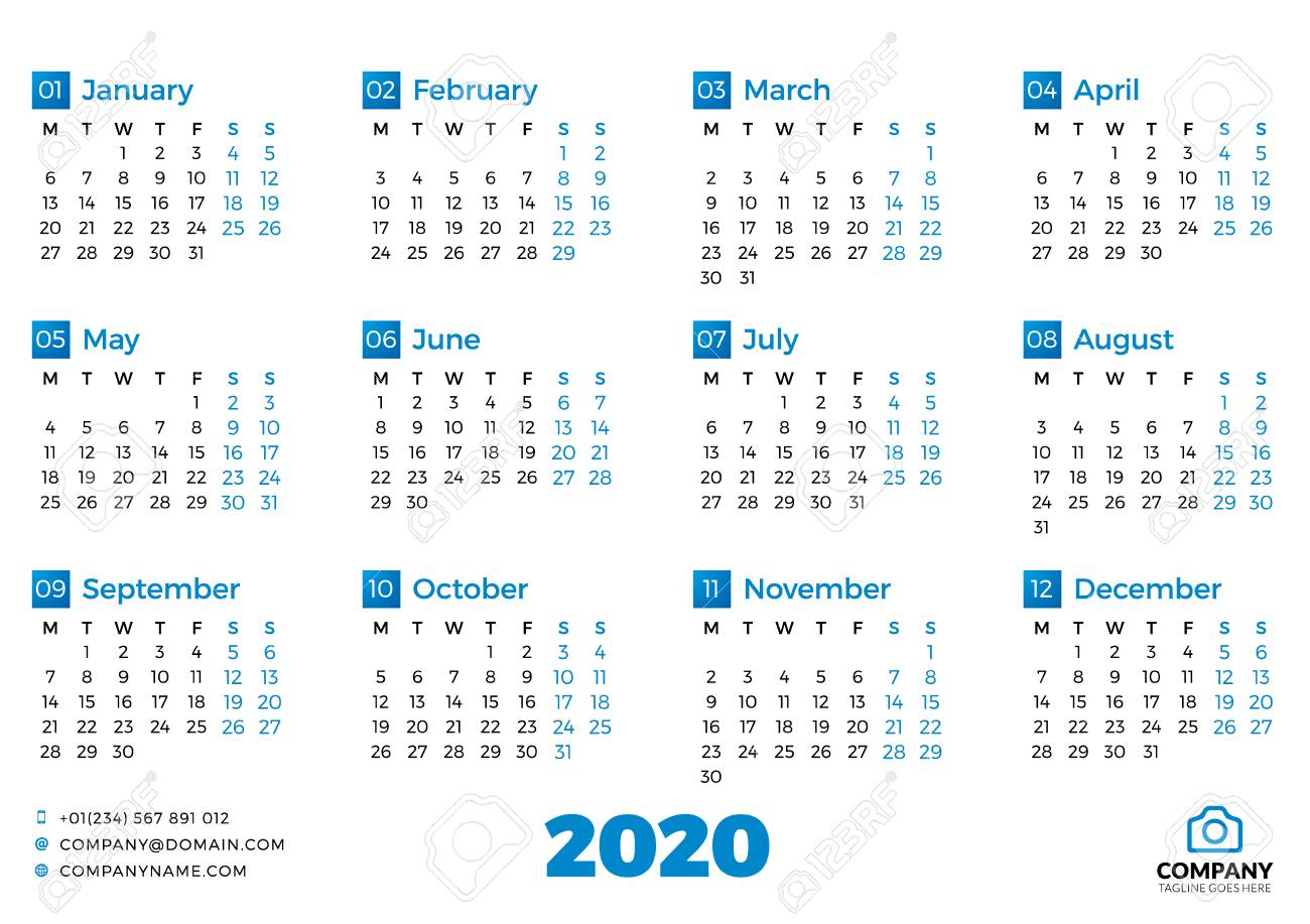 Simple Calendar Template For 2020 Year. Week Starts On Monday for 2020 Calendar Starting On Monday