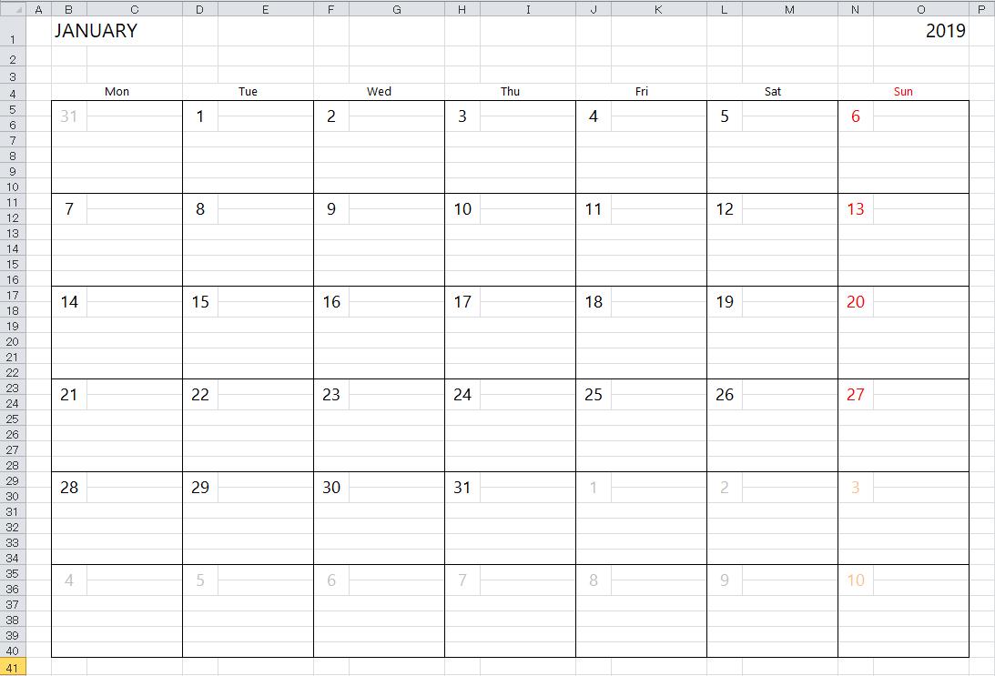 Simple Excel Calendar Template pertaining to Monday - Sunday Calendar Template