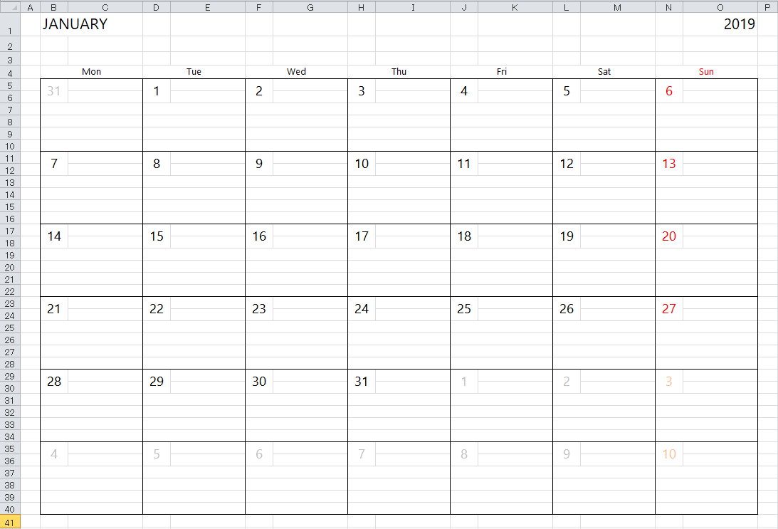 Simple Excel Calendar Template with regard to Blank Excel Spreadsheet With Calendar