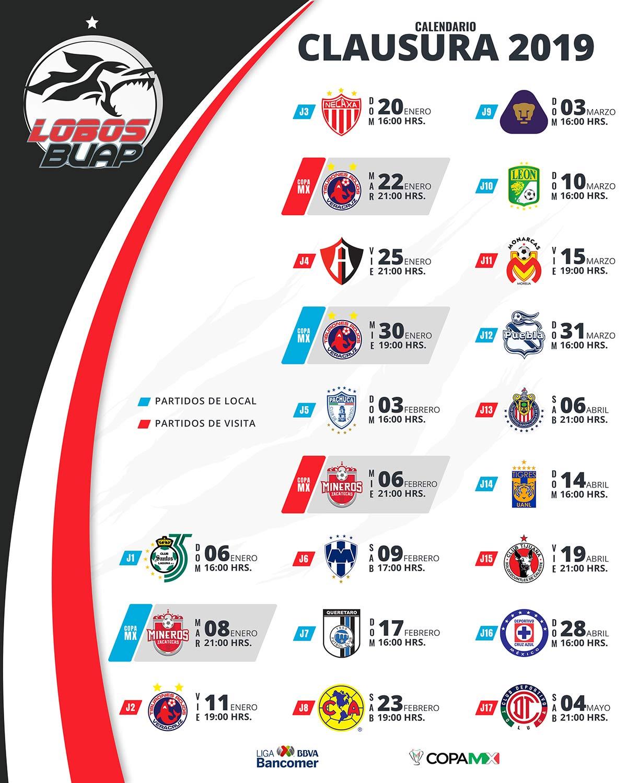 Sitio Oficial Lobos Buap » Calendario Clausura 2019 with regard to Calendario Liga Mx 2019 2020