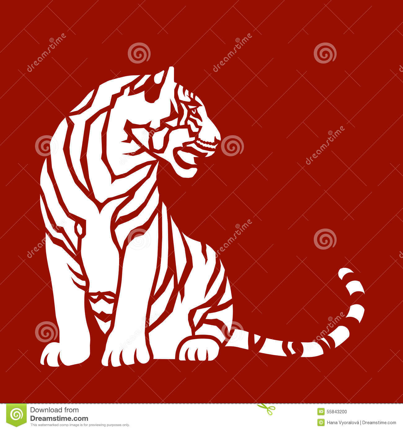 Sitting Tiger Stock Vector. Illustration Of Nature, Indochinese with regard to Templates For The Chinese Zodiac Animals